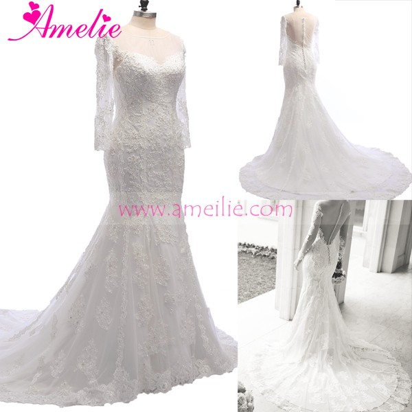 Factory Wholesaler Wedding Dress with Lace Sleeves and Hand Beading Wedding Spring 2016 Bridal Collection