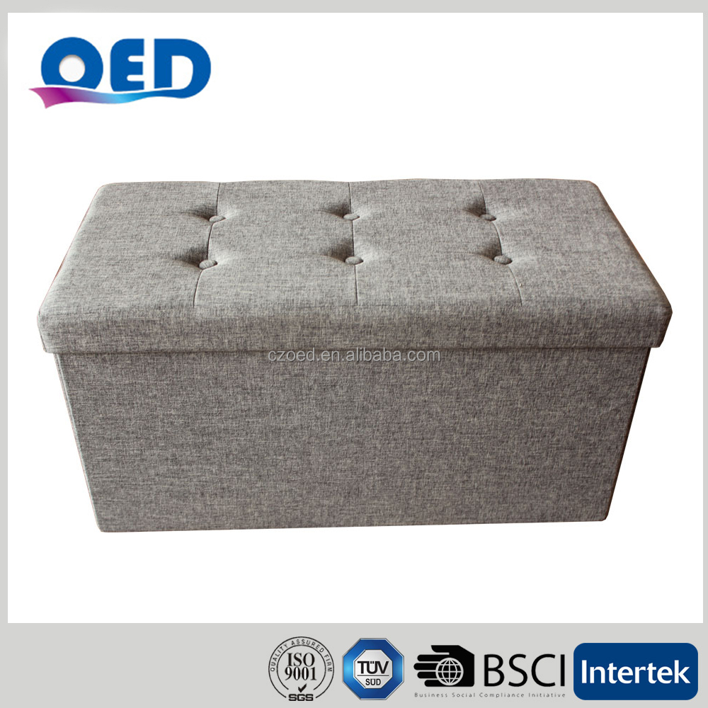 OED Polyester Foldable Storage Ottoman Bench Stool With 6buttons 76*38*38cm Grey T29