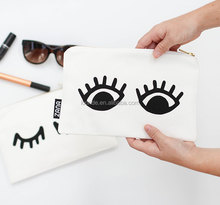 Hot sale simple cotton canvas eyelash gift bag make up purse or pouch