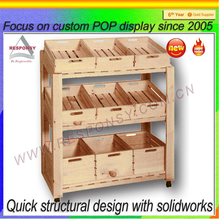 custom wood floor vegetable shelves fruits display case wholesale