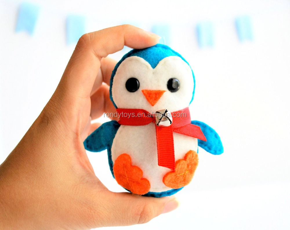 Stuffed & Plush Toy Animal-Blue Christmas Penguin 100% Wool Felt Ornament