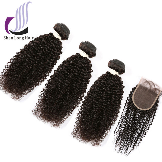 Virgin 8A Kinky Curly Wholesale Peruvian Virgin Hair Lace Closure With Bundles