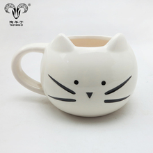 16oz thick porcelain cat shaped coffee mug with cheap price