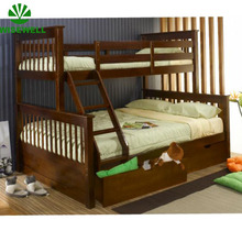 WJZ-B73 wooden double bunk bed designs with box