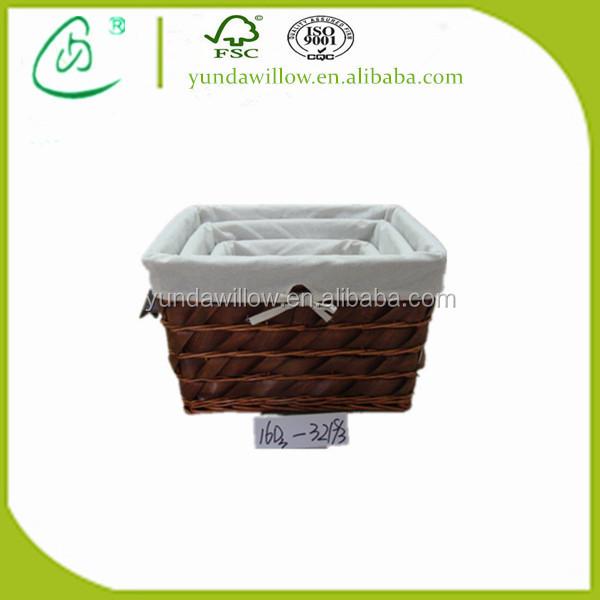 Brown Wicker Baskets With Liners