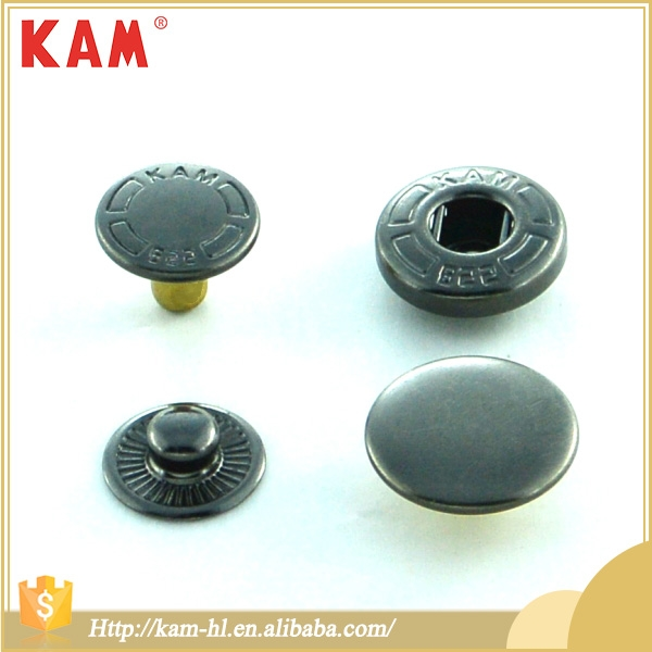 Eco-Friendly 4 Parts A Set Gunmetal Copper Brass Metal Snap Button With Black Color