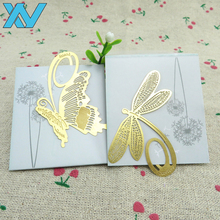 Golden color animal dragonfly design S/S metal bookmark small order office bookmark