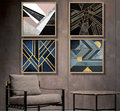 New Contemporary Abstract Line Wall Framed Canvas Art