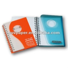 Clear PVC plastic cover spiral notebook with pen