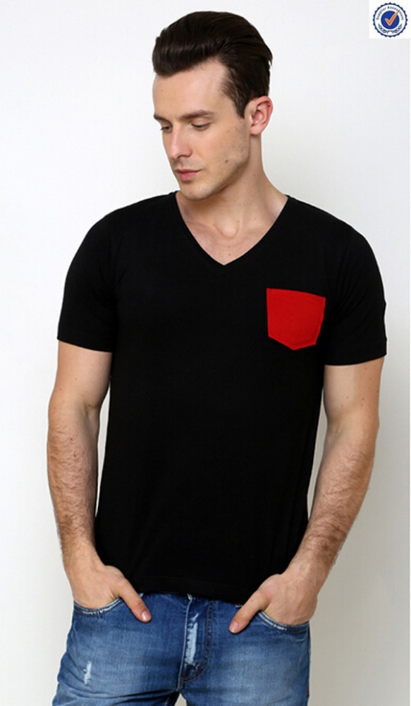 High quality plain black cotton t shirt with red pocket for Good quality cotton t shirts