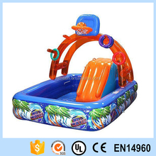 Inflatable Water Park with Slide Pool Backyard Basketball Hoop
