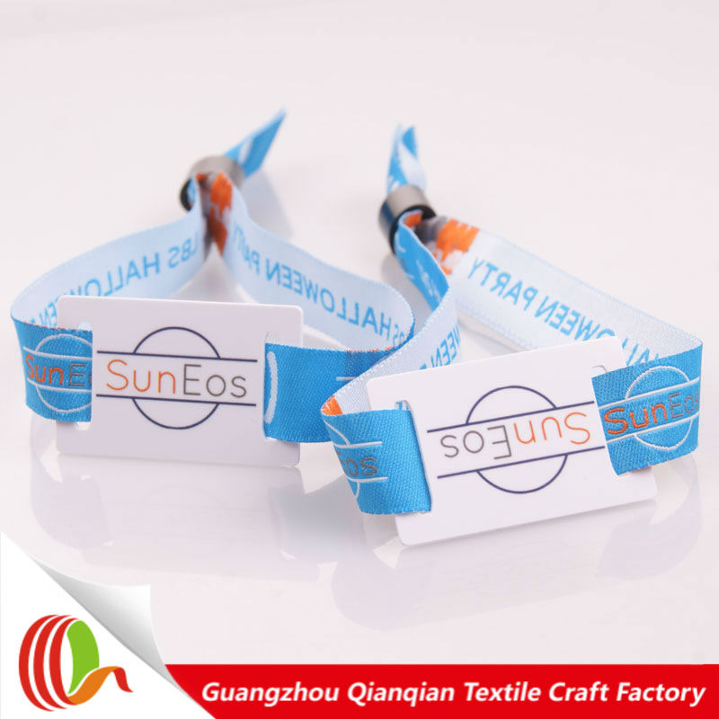 Woven logo cheap custom polyester FRID round wristband