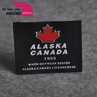 High quality lowest price iron on woven label with brand logo for clothing