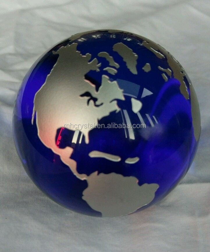 Blue crystal Glass earth Globe with gold map MH-Q0207