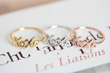 Fashion silver -plated exo kpop Letter XOXO wedding ring set for women gift mens expandable wedding ring set free sample