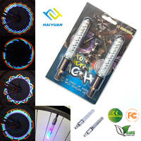 Colorful double bike and motorcycle wheel valve cap flash led light
