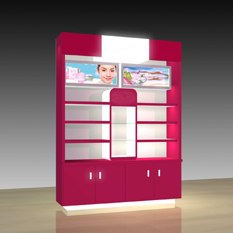 Wood acrylic logo perfume make up display stand beauty products display cabinets