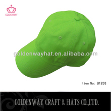 neon green cotton twill 6 panel caps plain baseball hat sport caps with custom design logo for promo