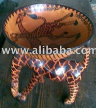 Hand carved giraffe stand wooden bowl