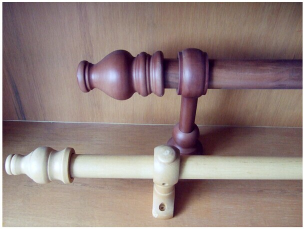 wood curtain rod or poles with head bracket ring screw package