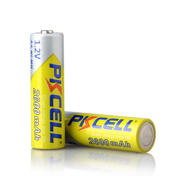 pkcell 1.2v rechargeable aa batteries ni-mh 1.2 volt 2600mah battery