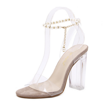 2017 Latest high chunky heel pearl ankle strap lady dress wedding shoes