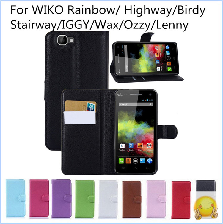Free Shipping Luxury Flip PU Leather Cover For Wiko Rainbow Highway Birdy Stairway IGGY Wax Ozzy Lenny Wallet Bag Case