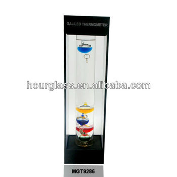 Galileo Thermometer in Black Stand