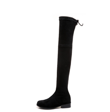Lady comfortable thigh high boots over the knee low heel