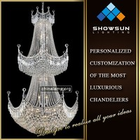 Chrome trapezoidal shape crystal lace crystal ball bottom large hotel chandelier