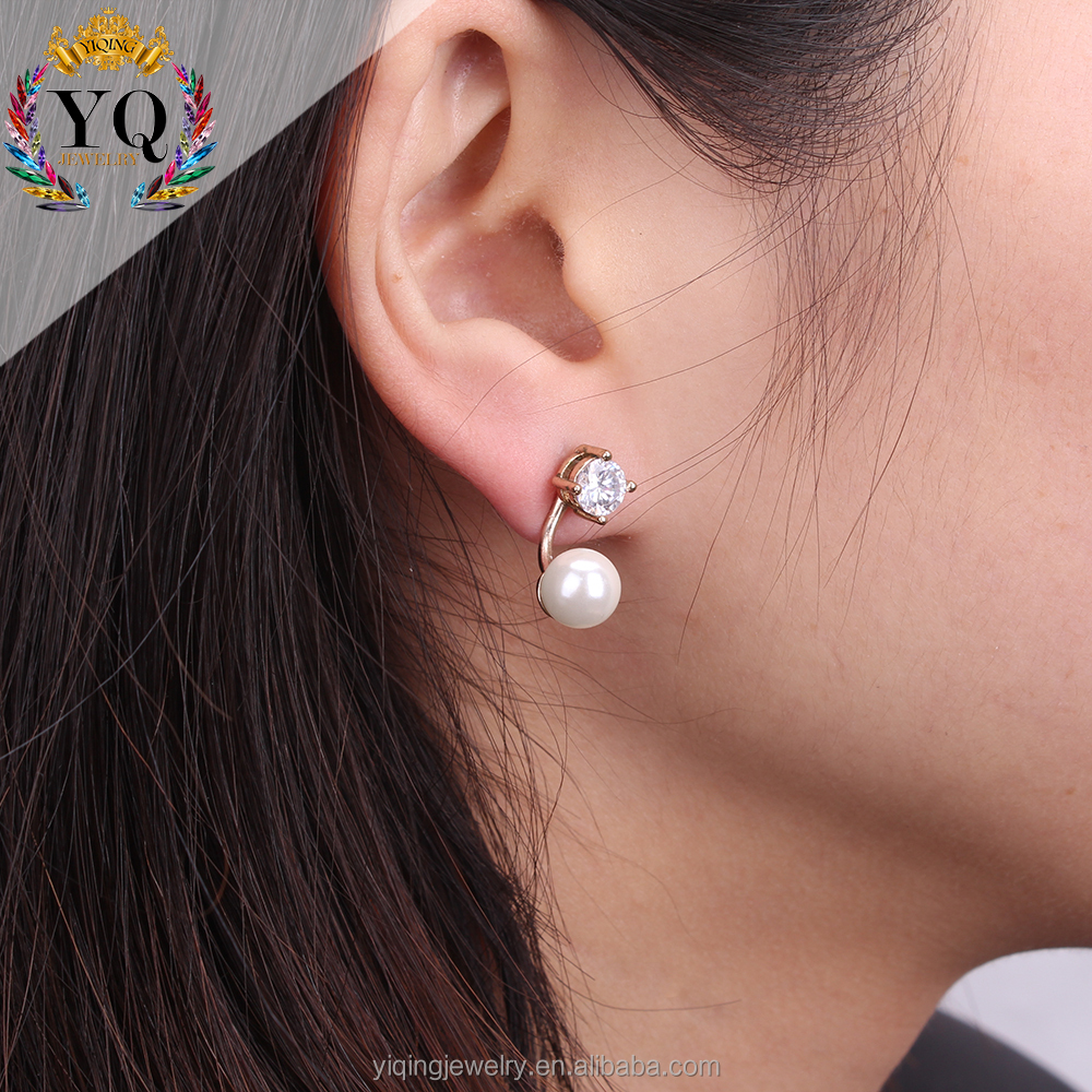 EYQ-00564 natural double side handmade simple imitation pearl earrings