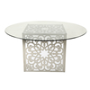 Fashion art decoration modern round banquet dinning room table nordic style glass top led wedding dining table set