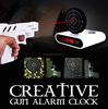 Lazy dedicated cordless Laser Novelty digital red light LCD Gun Alarm Clock Shooting to Turn It Off