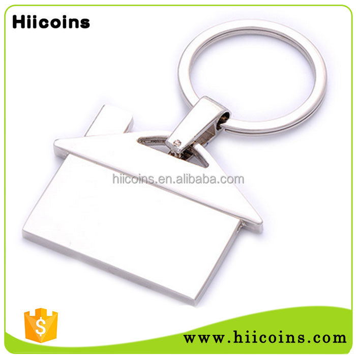 Best Selling Items Make Your Own Logo Metal Blank House Shaped keychain