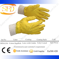 Fully yellow latex crinkle finished Cotton/interlock liner Knit wrist working gloves