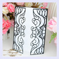 MR082 New Arrival Design Charming Black Rectangle Card Carved Pattern Customizable Crafts Wedding Laser Cut Invitation Card