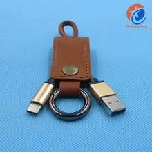 Convenient Fasion Leather keychain USB 3.1 type c cable for charging and transfer