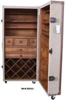 Beige Nubuck Leather Rolling Bar Cabinet