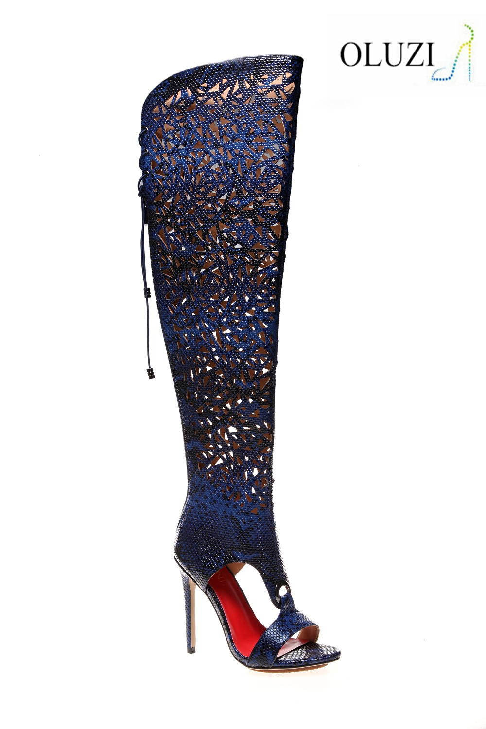 olz40 patent leather midsole thigh high cut out