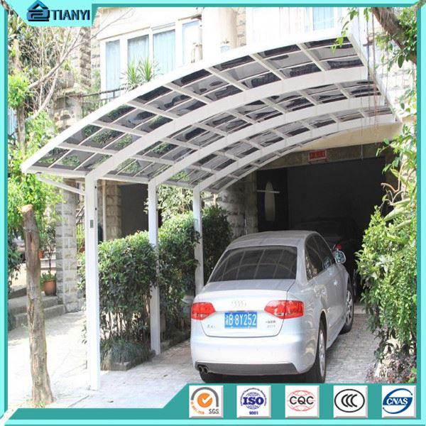 Attached Wall Aluminum Carport& Garage With Polycarbonate Pc Sheet Roof- Retractable Carport Aluminum Frame Double Carport