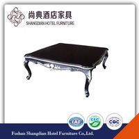 square shape silver wood coffee table