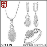 Wholesale Rhodium Gold Plated CZ Jewelry sets for Wedding