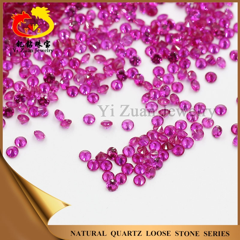 Competitive price charming round shaped diamond cut natural burma ruby gemstone