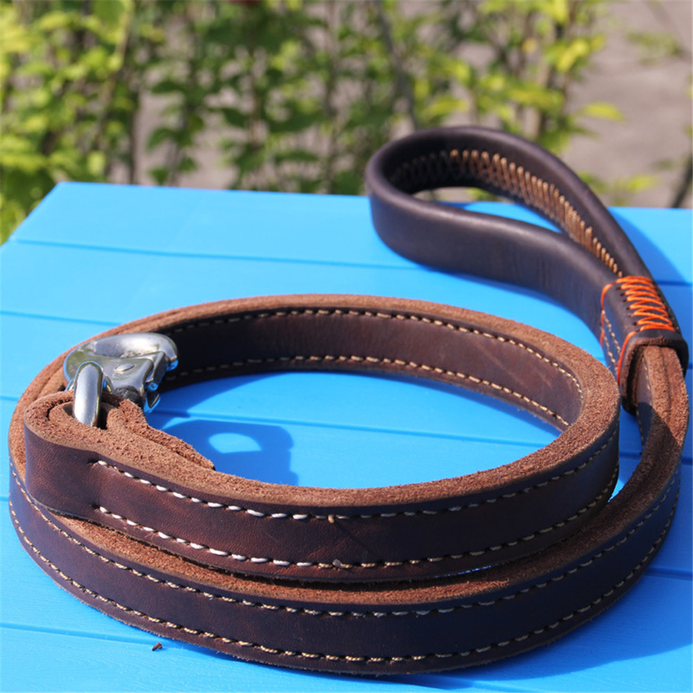 Durable Strong Real Leather Large Pitbull Dog Leash