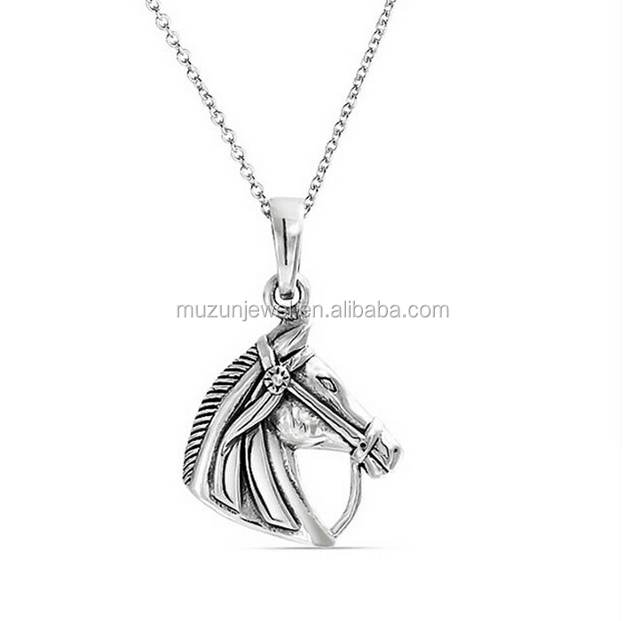 Animal Horse Head Pendant 925 Sterling Silver Equestrian Necklace