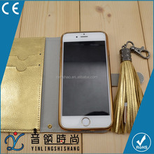 2016 Gadget Best Promotional Gift Mobile Phone With Tassels USB Cable For Iphone6, Leather Phonecase With Card Slot Back Cover