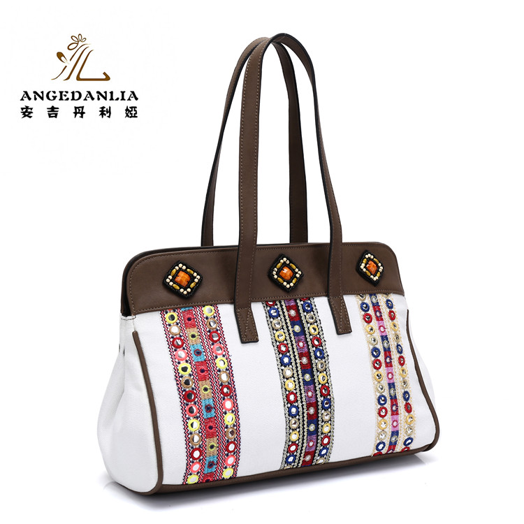 2017 New Designer Handmade Embroidered fair <strong>trade</strong> tote bags linen handbag for ladies