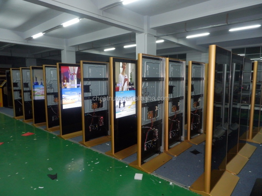 46 inch floor standing kiosk golden color popular kiosk shopping mall digital signage for <strong>advertising</strong> with wifi