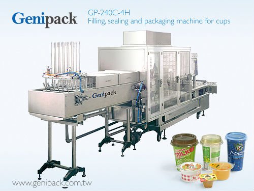 Filling, sealing and packaging machine for cups