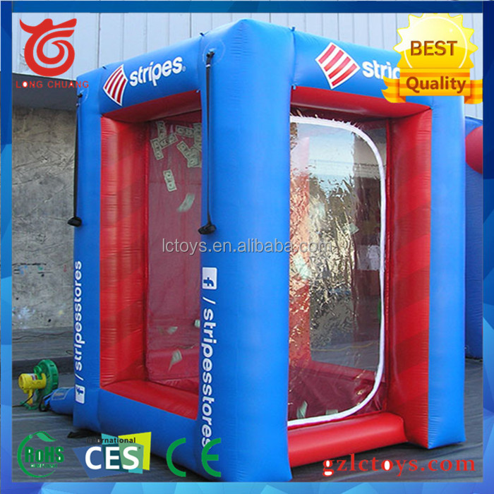 High quality 0.6mm PVC inflatable cash machine cash cube for sale